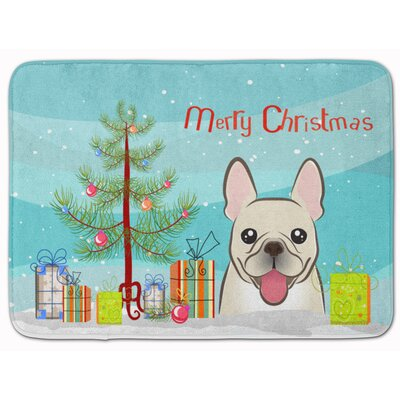 Christmas Tree and French Bulldog Memory Foam Bath Rug