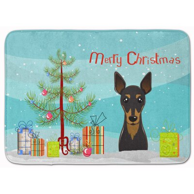 Christmas Tree and Min Pin Memory Foam Bath Rug