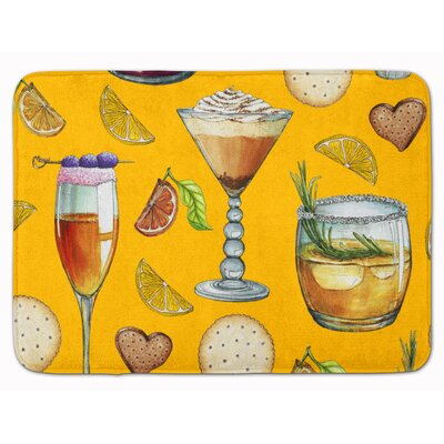 Drinks and Cocktails Memory Foam Bath Rug Color: Gold