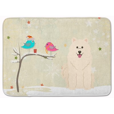 Christmas Presents Friends Samoyed Memory Foam Bath Rug