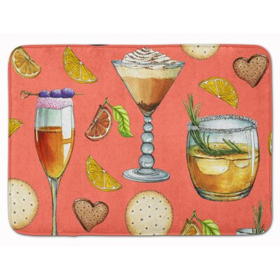 Drinks and Cocktails Memory Foam Bath Rug Color: Salmon