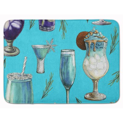 Drinks and Cocktails Memory Foam Bath Rug Color: Blue