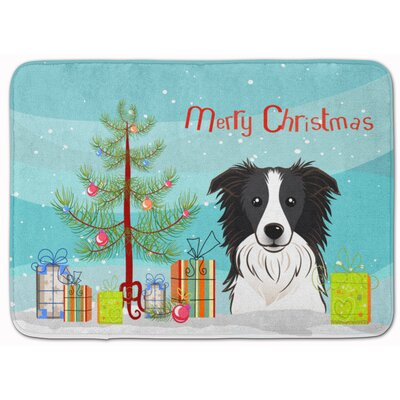 Christmas Tree and Border Collie Memory Foam Bath Rug