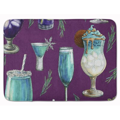 Drinks and Cocktails Memory Foam Bath Rug Color: Purple