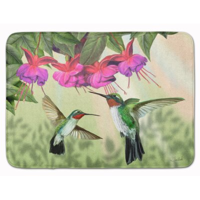 Fuchsia and Humming Birds Memory Foam Bath Rug