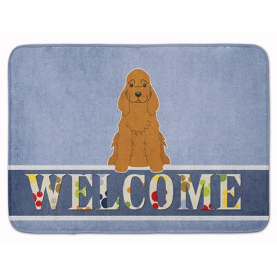 Cocker Spaniel Buff Welcome Memory Foam Bath Rug Color: Red