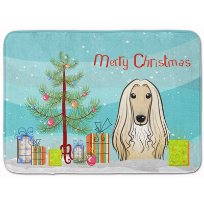 Christmas Tree and Afghan Hound Memory Foam Bath Rug