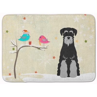 Christmas Standard Schnauzer Memory Foam Bath Rug Color: Black/Gray