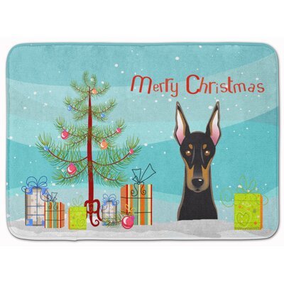 Christmas Tree and Doberman Memory Foam Bath Rug
