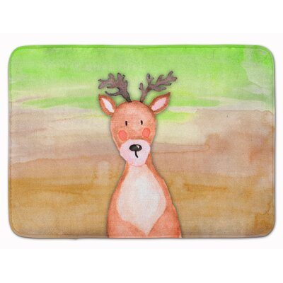 Deer Watercolor Memory Foam Bath Rug