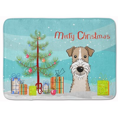 Christmas Tree Wire Hair Fox Terrier Memory Foam Bath Rug