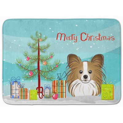 Christmas Tree and Papillon Memory Foam Bath Rug