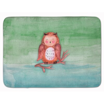 Zachary Owl Watercolor Memory Foam Bath Rug