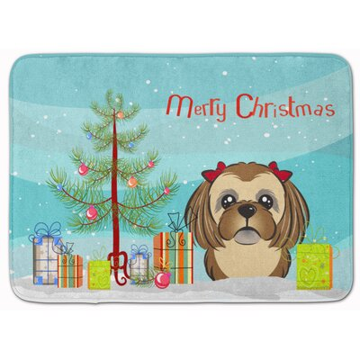 Christmas and Shih Tzu Memory Foam Bath Rug Color: Brown