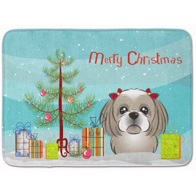 Christmas and Shih Tzu Memory Foam Bath Rug Color: Gray/Silver