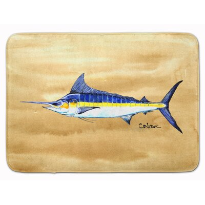Swordfish on Sandy Beach Memory Foam Bath Rug