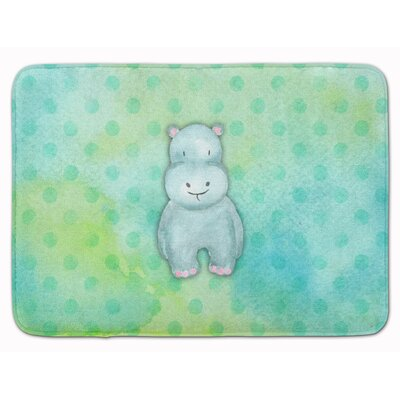 Hippopotamus Watercolor Memory Foam Bath Rug