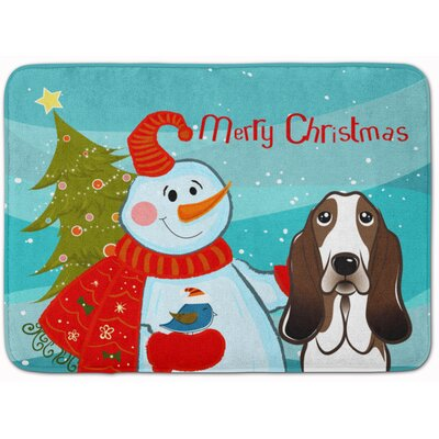 Snowman with Basset Hound Memory Foam Bath Rug