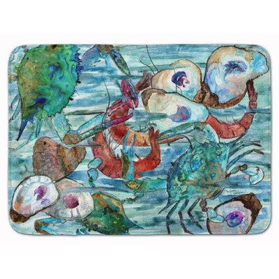 Watery Shrimp, Crabs and Oysters Memory Foam Bath Rug