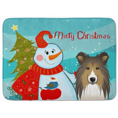 Snowman with Sheltie Memory Foam Bath Rug