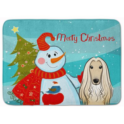 Snowman with Afghan Hound Memory Foam Bath Rug