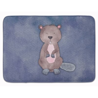 Beaver Watercolor Memory Foam Bath Rug