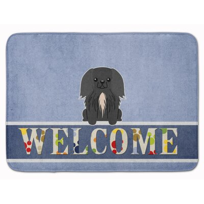 Pekingese Welcome Memory Foam Bath Rug Color: Black