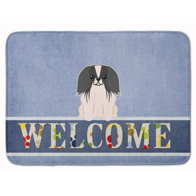 Pekingese Welcome Memory Foam Bath Rug Color: Black/White