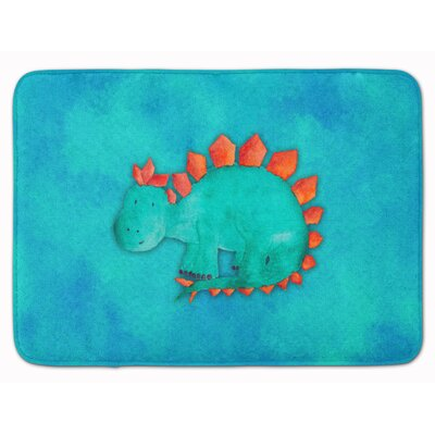 Wren Stegosaurus Watercolor Memory Foam Bath Rug