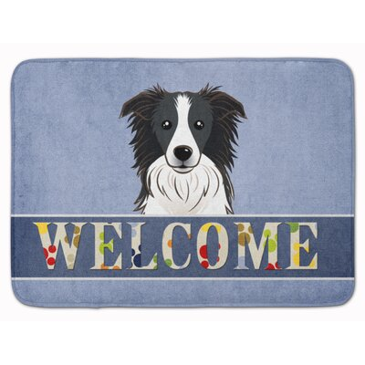Border Collie Welcome Memory Foam Bath Rug
