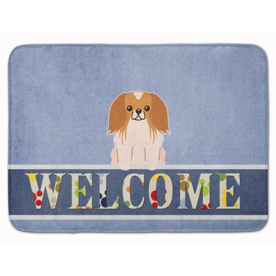 Pekingese Welcome Memory Foam Bath Rug Color: Red/White