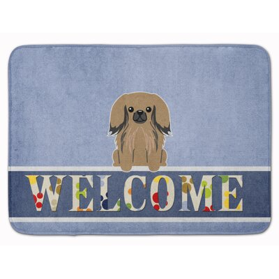 Pekingese Welcome Memory Foam Bath Rug Color: Tan