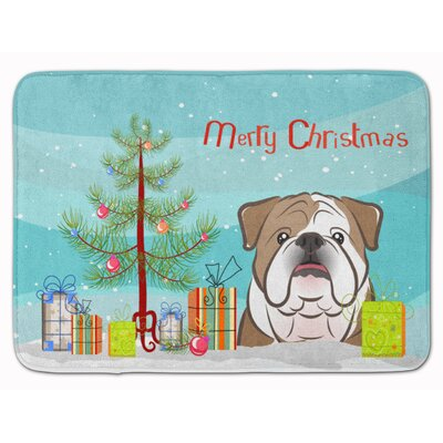 Christmas Tree and English Bulldog Memory Foam Bath Rug Color: Brown/White