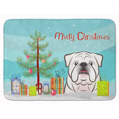 Christmas Tree and English Bulldog Memory Foam Bath Rug Color: White