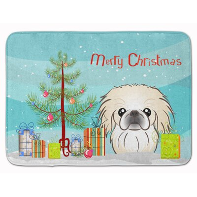 Christmas Tree and Pekingese Memory Foam Bath Rug