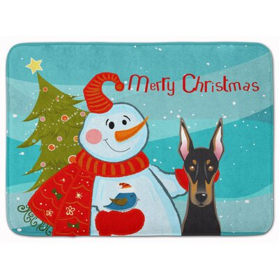 Snowman with Doberman Memory Foam Bath Rug