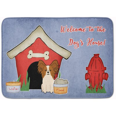Dog House Papillon Memory Foam Bath Rug Color: Red/White