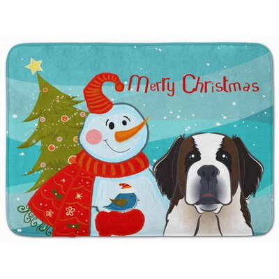 Snowman with Saint Bernard Memory Foam Bath Rug