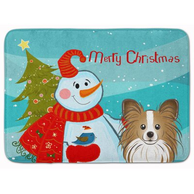 Snowman with Papillon Memory Foam Bath Rug