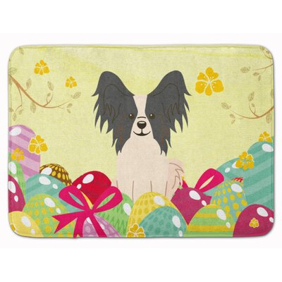 Easter Eggs Papillon Sable Memory Foam Bath Rug Color: Black/White