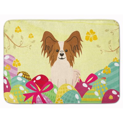 Easter Eggs Papillon Sable Memory Foam Bath Rug Color: Red/White