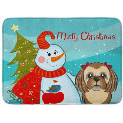 Snowman with Shih Tzu Memory Foam Bath Rug Color: Chocolate/Brown