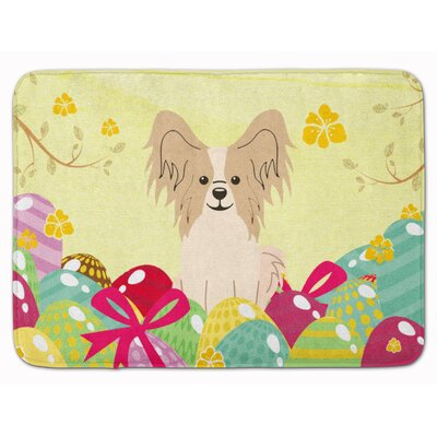 Easter Eggs Papillon Sable Memory Foam Bath Rug Color: White