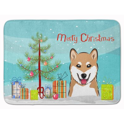 Christmas Tree and Shiba Inu Memory Foam Bath Rug