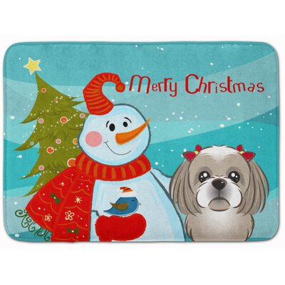 Snowman with Shih Tzu Memory Foam Bath Rug Color: Gray/Silver