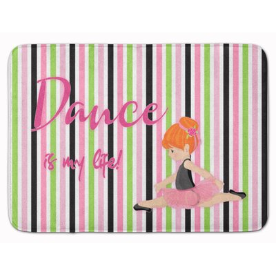 Ballet Dance is my Life Brunette Memory Foam Bath Rug Color: Orange
