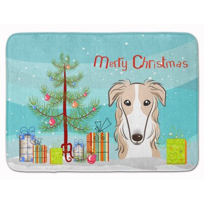Christmas Tree and Borzoi Memory Foam Bath Rug