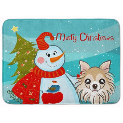 Snowman with Chihuahua Memory Foam Bath Rug