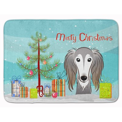 Christmas Tree and Saluki Memory Foam Bath Rug