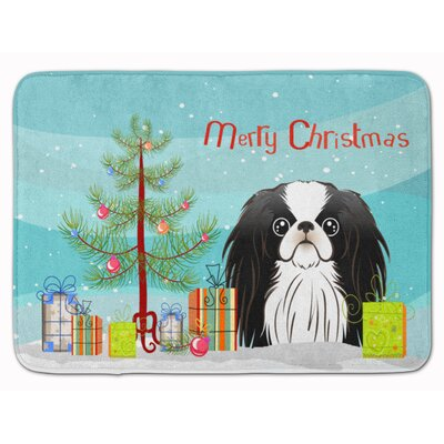 Christmas Tree and Japanese Chin Memory Foam Bath Rug
